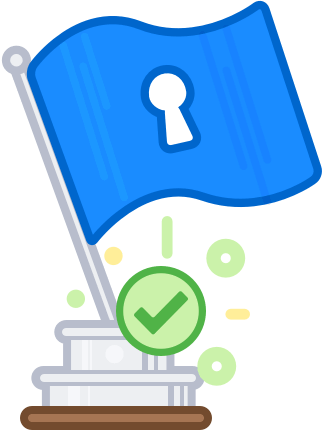 1Password Flag with green tick