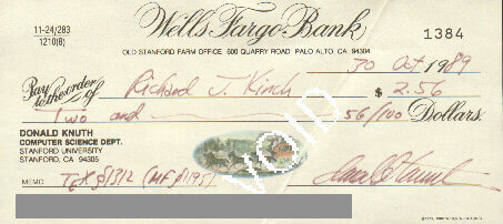 A bounty check from Donald Knuth made out to Richard Kinch