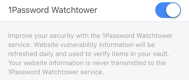 Turning on Watchtower in iOS.