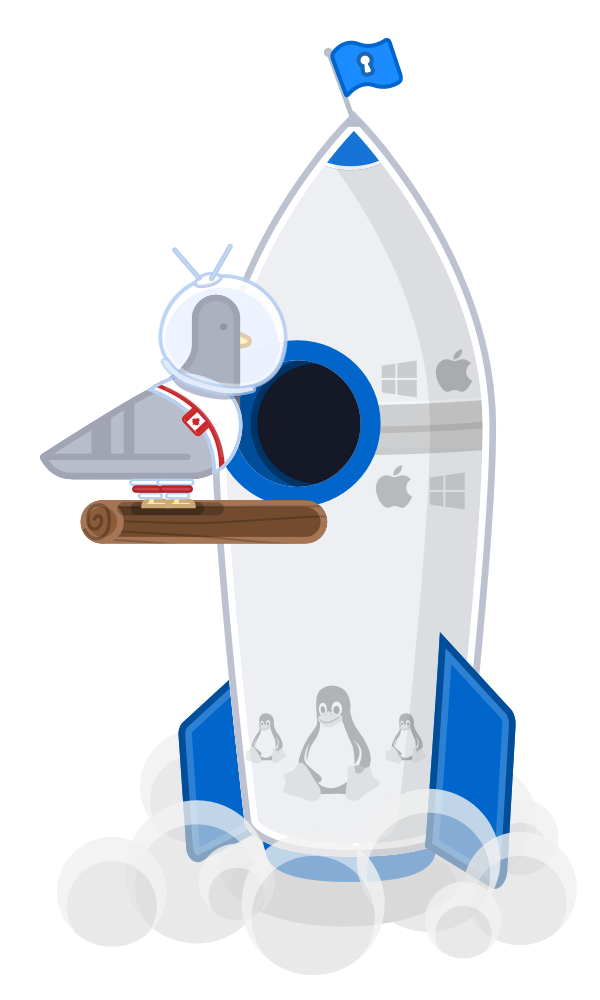 Harold boarding a 1Password X rocket, getting ready to blast off to start a new world.