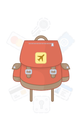 Backpack containing 1Password items