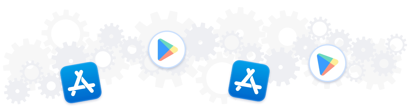 Icons for the Google Play Store and App Store