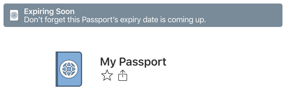 Alert showing expiring passport