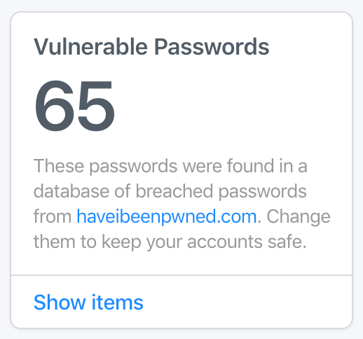 Watchtower showing vulnerable passwords