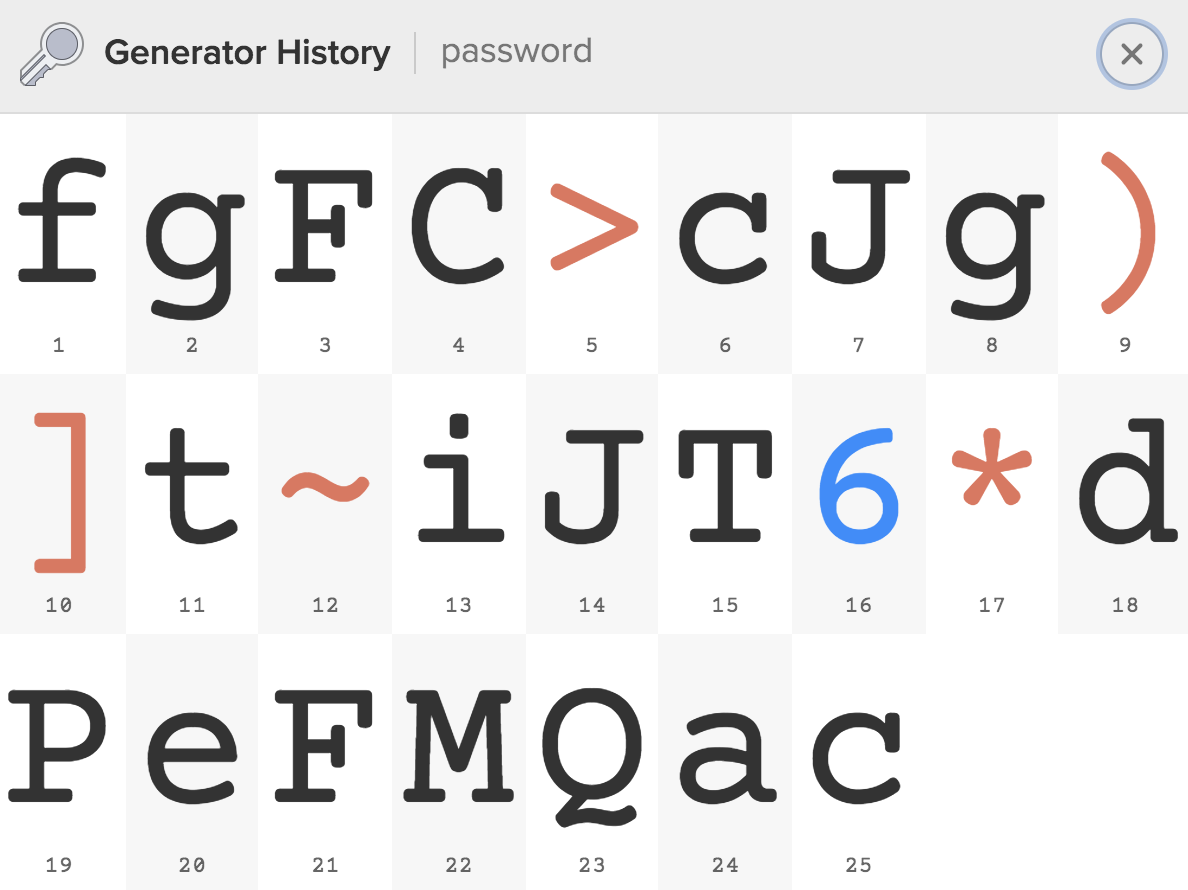 Large Type for a generated password