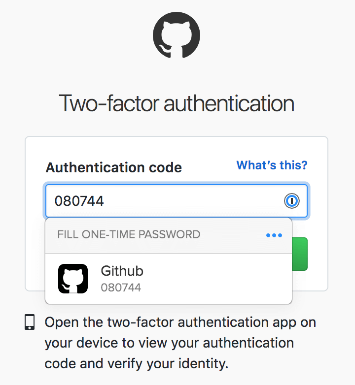Automatically filling one-time password two-factor authentication on GitHub