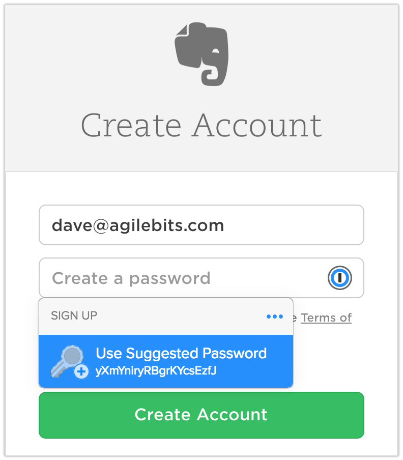 Creating an Evernote account using a Suggested Password