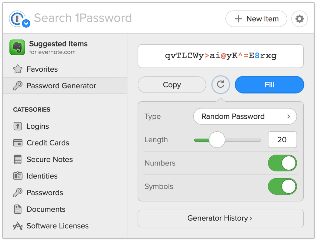 Generating a strong, unique password with 1Password X