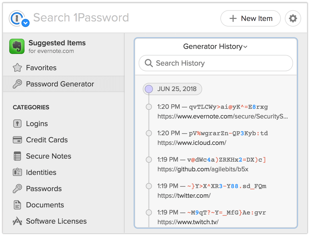 Generator History in the Strong Password Generator