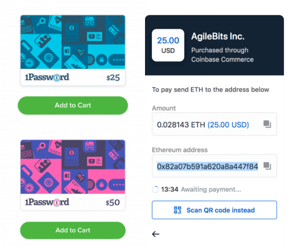 1Password gift cards - Eth payment