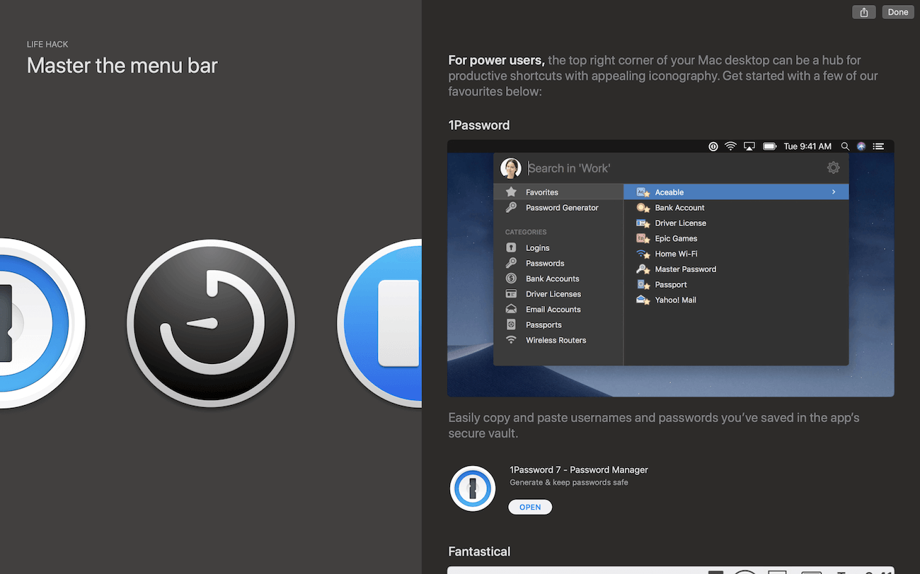Master the menu bar with 1Password