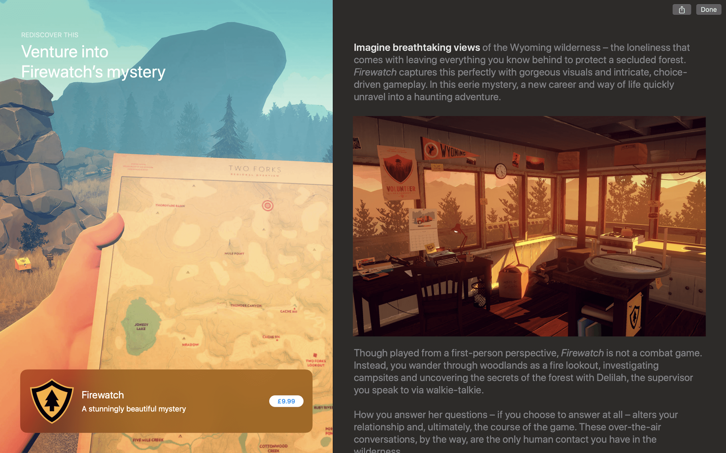 Venture into Firewatch's mystery