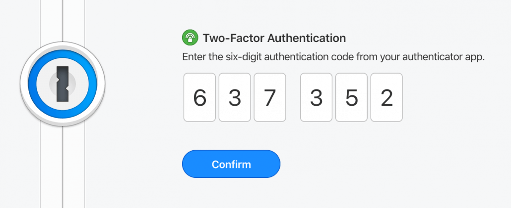 1Password Two Factor Authentication page