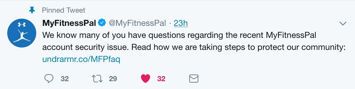 A pinned Tweet from MyFitnessPal announcing their data breach