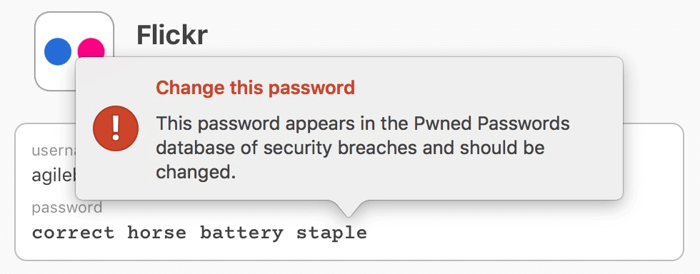A login item whose password is in Troy Hunt's Have I Been Pwned database