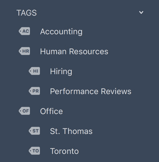 Sidebar with nested tags showing