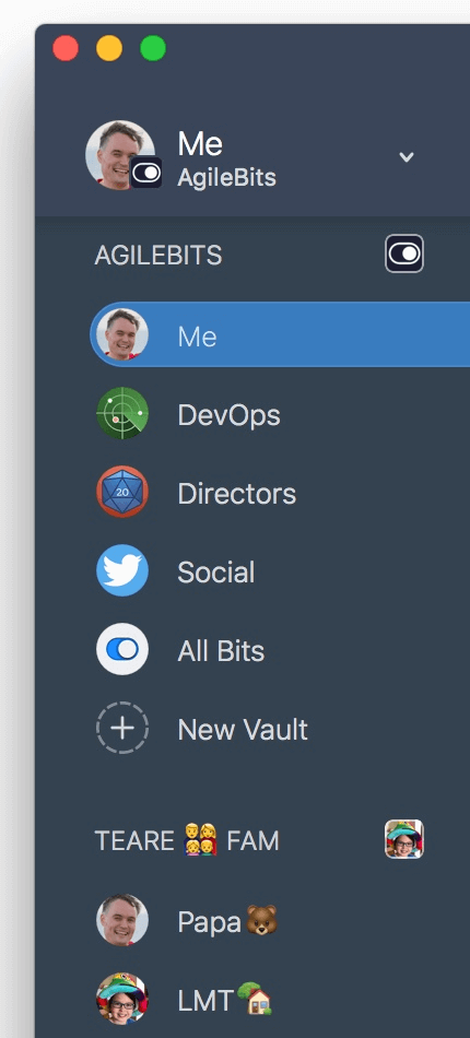 1Password sidebar with vaults revealed