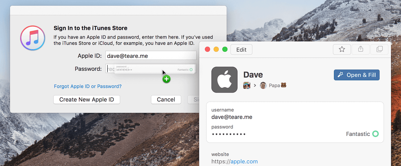 Drag and drop passwords from 1Password mini into iTunes