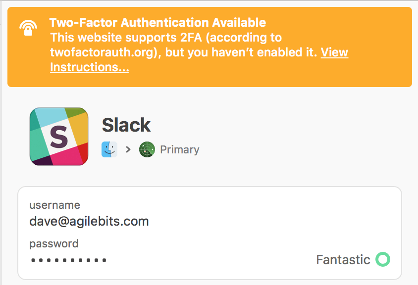 Watchtower warning that 2FA is not enabled