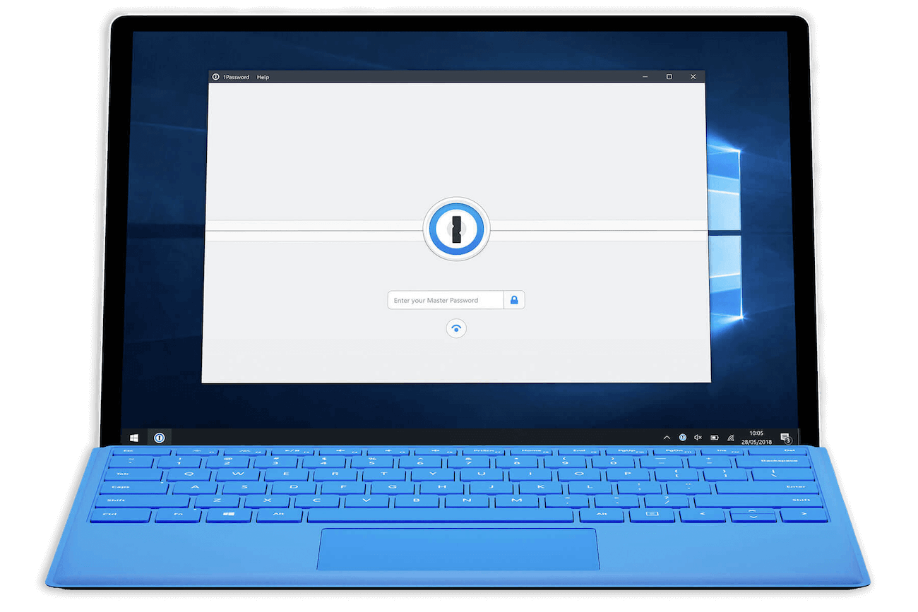 1Password 7 for Windows lock screen asking for your Master Password with a Windows Hello button