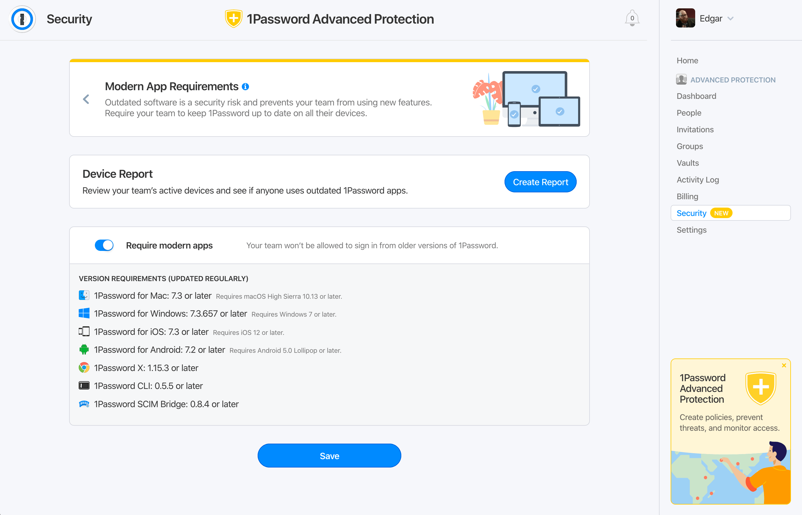 Screenshot of setting modern app requirements 1Password Advanced Protection