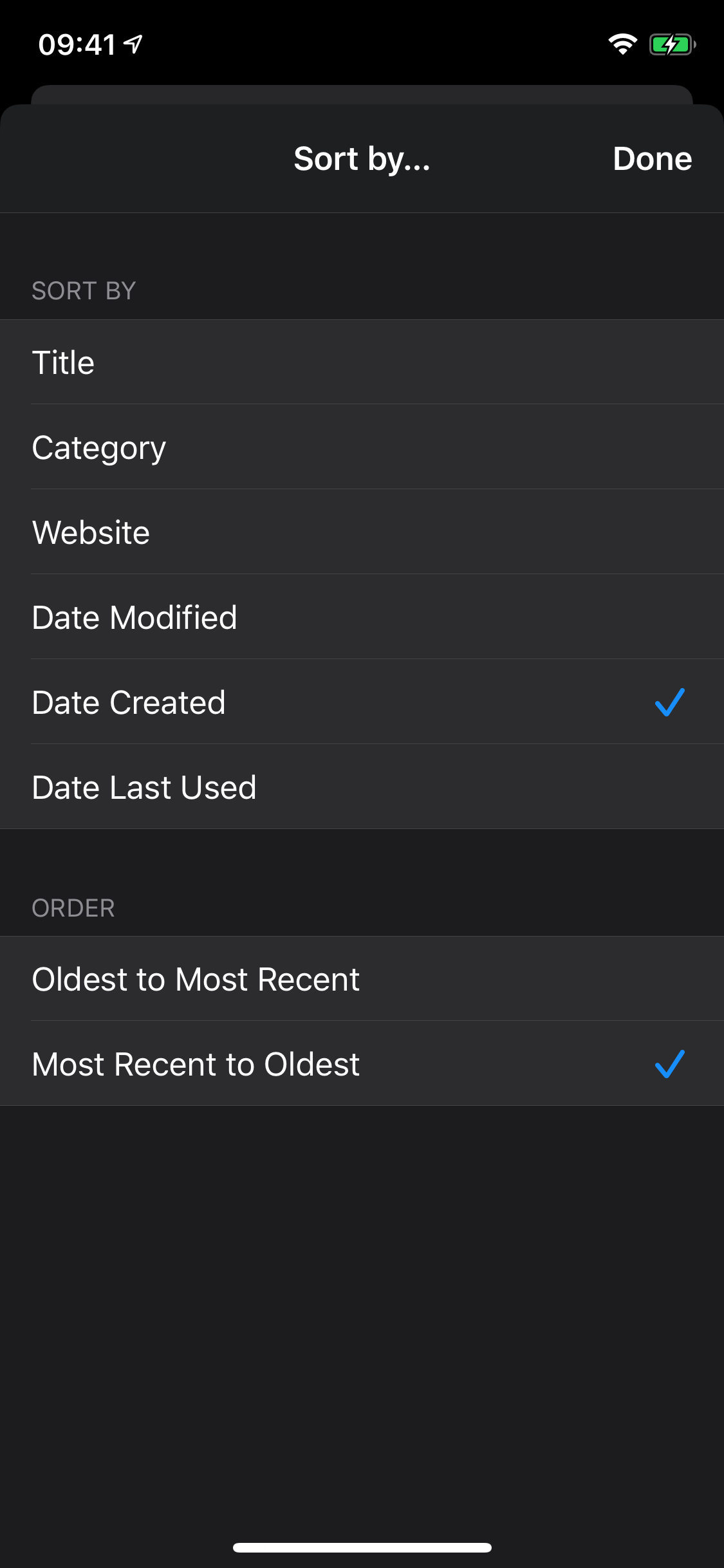 Sort by Date Created