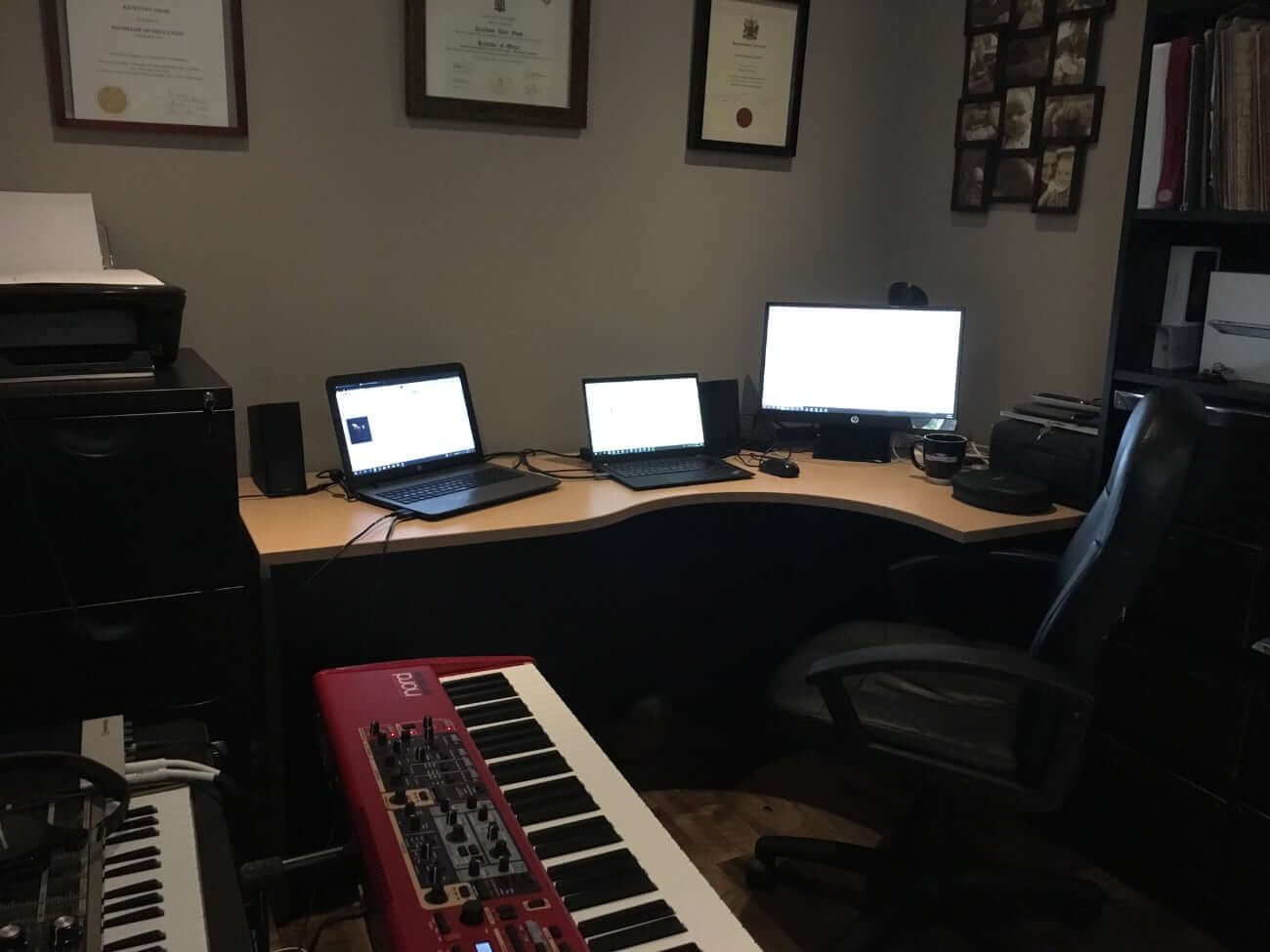 Image of Grant's desk and recording equipment
