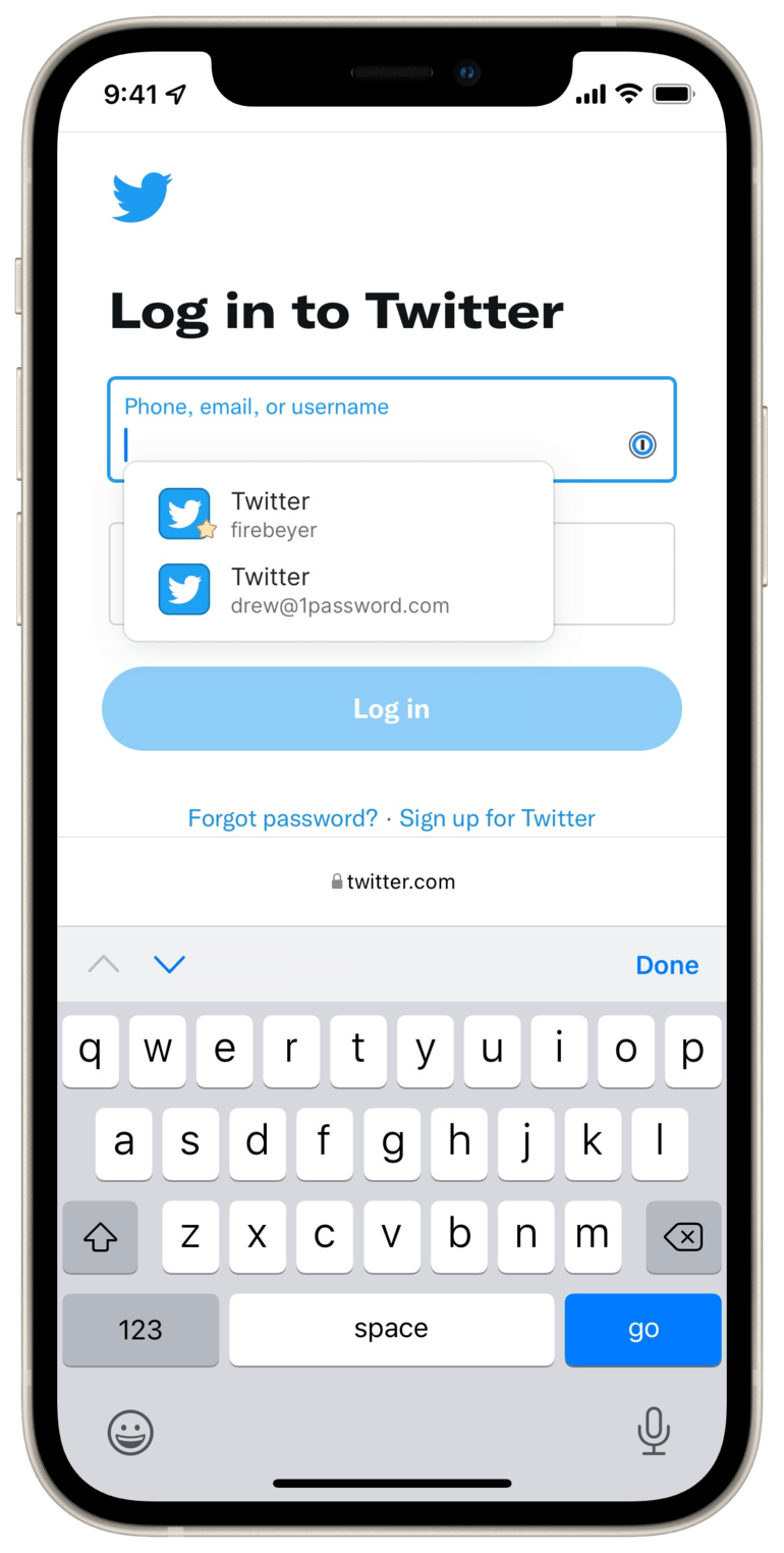 1Password in-page suggestions displayed on Twitter.com