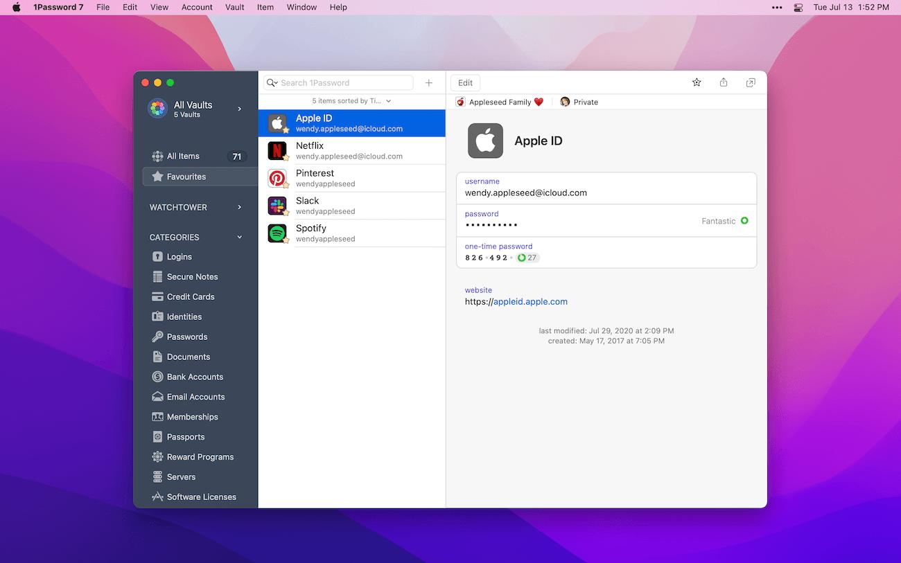1Password Mac app running on macOS Monterey
