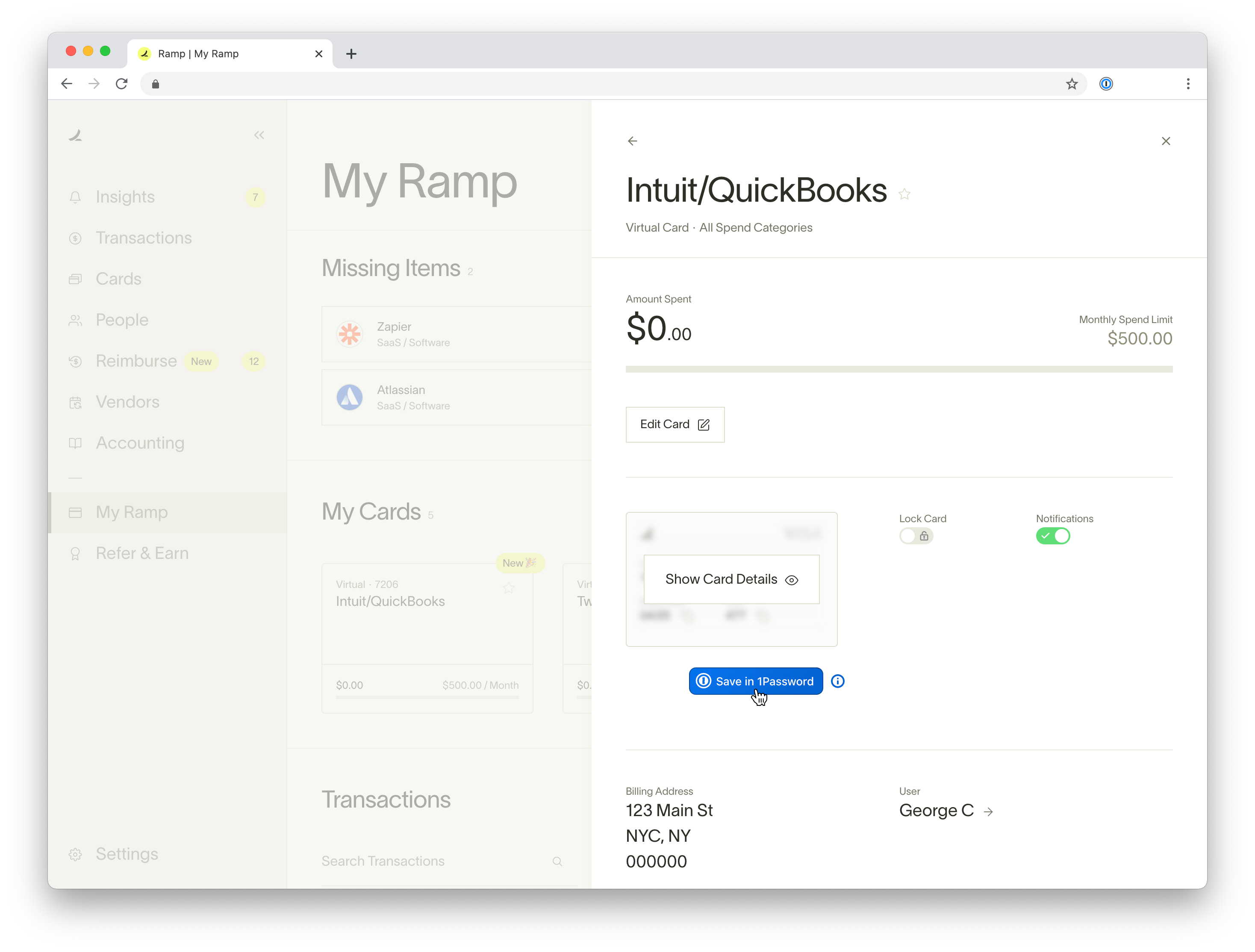 Screenshot showing the the ramp dashboard with a virtual card for intuit quickbooks. The Save in 1Password button appears under the card.